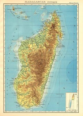 COLONIAL MADAGASCAR. Physique physical. Comoros & Mayotte 1938 old vintage map