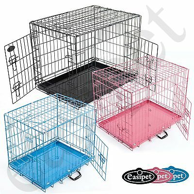 Dog Puppy Cage Pet Training Crate Folding Metal Travel Carrier 6 sizes Easipet