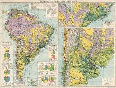 South America. Commercial/Industrial Development. Agricultural products 1925 map