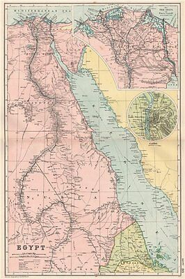 EGYPT NILE VALLEY RED SEA. Delta Suez Canal Cairo. Battles/dates. BACON 1903 map