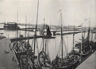 LOWESTOFT. The harbour and Parade. Suffolk 1895 old antique print picture