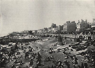 BRIGHTON. A long stretch of the beach. Sussex 1895 old antique print picture