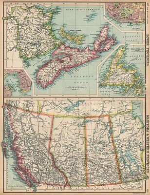 CANADA WESTERN & MARITIME PROVINCES. Inset St. John & Halifax 1912 old map