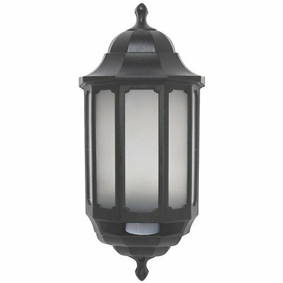 ASD LED Hi-Lo Half Lantern Outdoor Wall Light with PIR Motion Sensor - Black