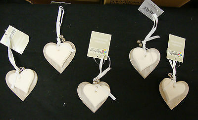 5 x Double Wooden Heart Christmas Tree Baubles Wedding Hanging Decorations