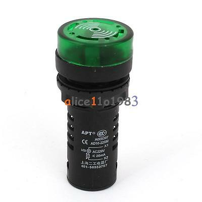 2PCS AC 220V 22mm AD16-22SM Flash LED Indicator Light with Buzzer Green Good