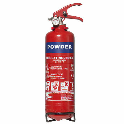 Dry Powder Fire Extinguisher With Gauge A B C Travel Essential - 1kg Class ABC