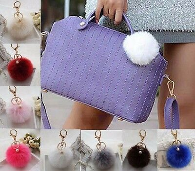 Handbag Charm Pearl Key Ring Soft Faux Fur Ball PomPom Cell Phone Bag Keyring