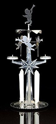 Angel Chimes Candle Holder Spinner with 4 Candles Nickel Carousel Christmas Gift