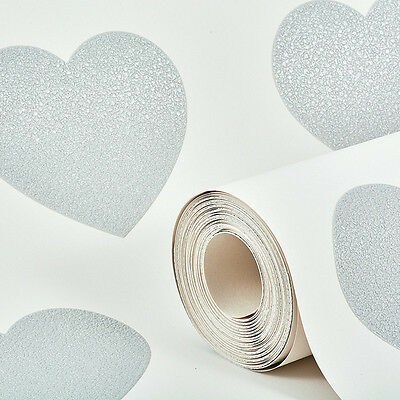 Arthouse Sweethearts Silver Glitter Love Hearts Vintage Wallpaper 891401