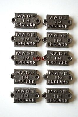 10 small cast iron MADE IN ENGLAND plaque signs furniture sign industrial style