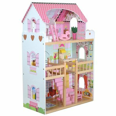 boppi® Toy Wooden Girls Dolls House 3 Storey Town Barbie Mansion+ Accessories