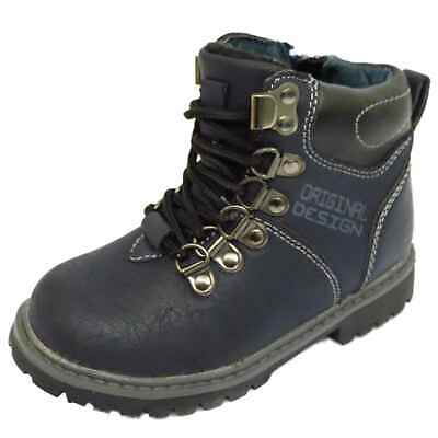 Boys Childrens Kids Navy Winter Warm Lace-Up Ankle Boots School Shoes Size 8-12