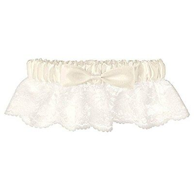 Classic Lace with Ribbon Satin Garter Wedding Party Accessory, White/Ivory