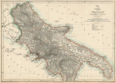 KINGDOM OF NAPLES/TWO SICILIES North. Southern Italy. DOWER. Dispatch 1863 map