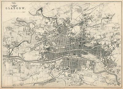GLASGOW. Large town/city plan by EDWARD WELLER for the Dispatch Atlas 1863 map