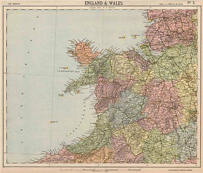 NORTHWEST ENGLAND & NORTH WALES. Lighthouses. LETTS 1889 old antique map chart