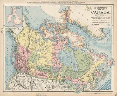 CANADA. Canadian Pacific Railway. Arctic explorers' routes. LETTS 1889 old map