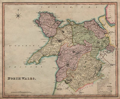 Antique map of North Wales by Henry Teesdale 1831 old plan chart