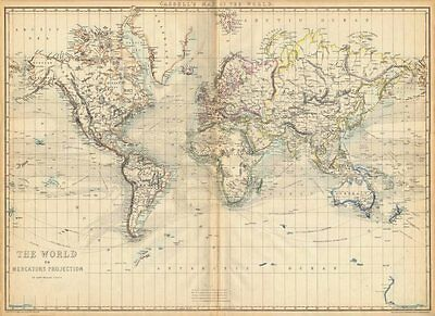 'The World on Mercators Projection'. Shows Mountains of Kong. WELLER 1863 map
