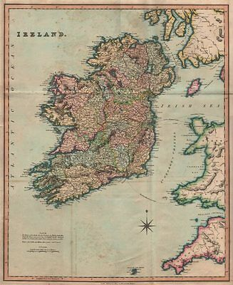 Antique map of Ireland by Henry Teesdale 1831 old plan chart