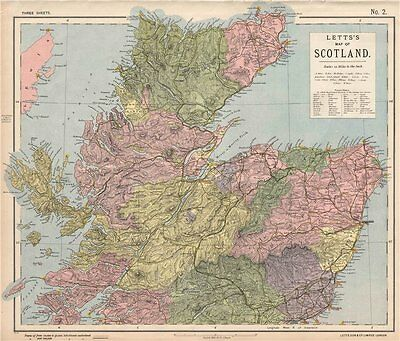 SCOTLAND NORTH. Railways lighthouses lifeboat stations. LETTS 1889 old map