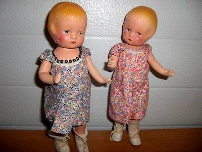 """Unmarked ~ Antique 10"""" Composition Twin Dolls from 1920's"""