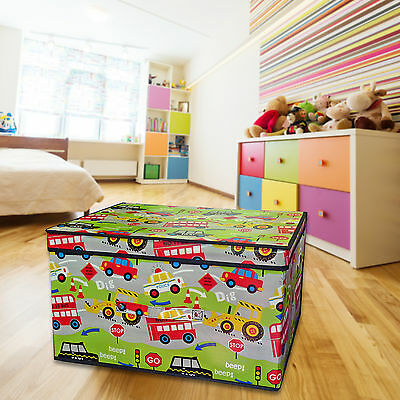 Kids Construction Foldable Tidy Storage Box with Lid – For Childrens Bedroom