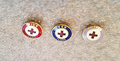 Red Cross 5-10-15 Year Enamel Service Pins