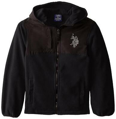 US Polo Assn Big Boys Black & Gray Fleece Hooded Jacket Size 8 10/12 14/16 $45