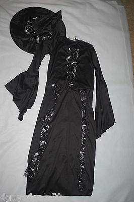 Girls Halloween Costume BLACK WITCH Dress & Hat SIZE M 8-10