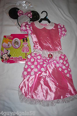 Girls MINNIE MOUSE HALLOWEEN COSTUME Disney Jr PINK DRESS Ears & Bow M 8-10