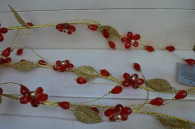 Gisela Graham Gold Glitter Leaf/ Red Flowers Berries Christmas Garland (180 cm)