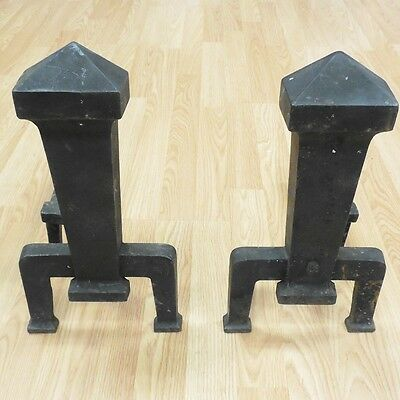 Antique Peerless 1968 Cast Iron Metal Andirons Gothic Medieval Fireplace Inserts