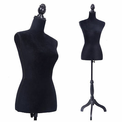 Black Female Mannequin Torso Dress Tshirt Clothing Display W/ Black Tripod Stand