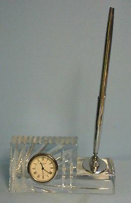 Vintage . Waterford Crystal Pen Holder with Quartz Clock
