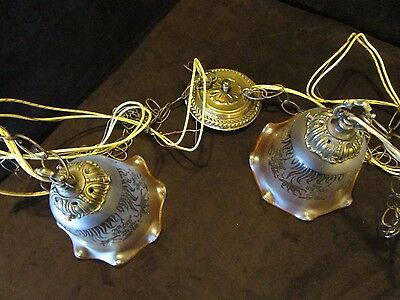 DOUBLE SWAG CHAIN HANGING LIGHT CEILING FIXTURE French VIANNE etched shades