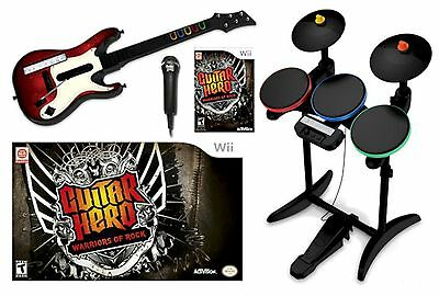 NEW Wii/Wii-U Guitar Hero WARRIORS OF ROCK Super Bundle Set kit drums mic game