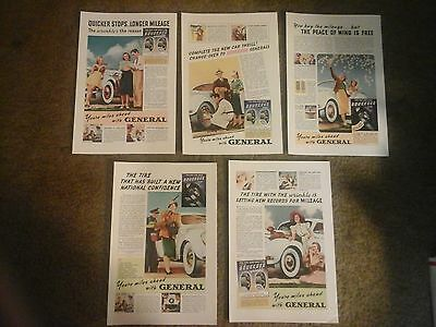 Vtg Ad lot (5 ads) THE GENERAL Tire & Rubber Co. - Squeegee -  All from 1939
