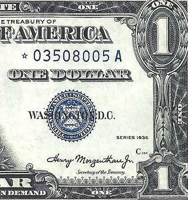 1935 $1 *double Date*  (( Star )) Choice About Uncirculated! Scarce! Fr.1607