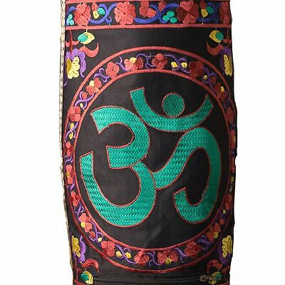 Embroidered Yoga Mat Bag with Om Symbol and floral designs