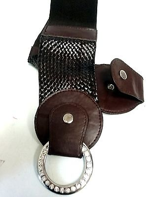 Dozen Elegant Waist Elastic Brown Belt With Rhinestones Round Bucket $39 Retail