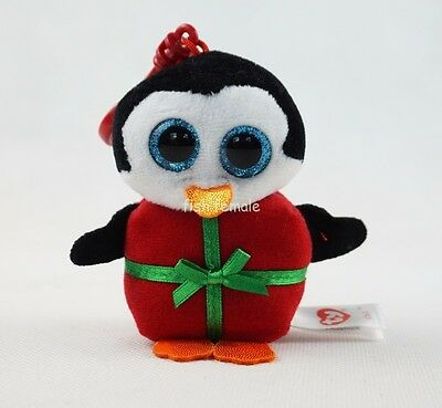 "3.2"" TY Beanie Boos Chill the Penguin Christmas Key Clip Plush Stuffed Girl Toys"