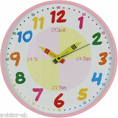 HOMEtime Childrens Time Teaching Learning Wall CLOCK Pink 30cm New