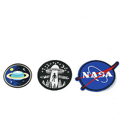 COOL Embroidery NASA UFO Space Sew Iron On Patch Badge Bag Fancy Dress Applique