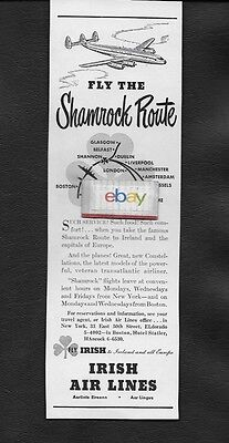 Irish Air Lines 1948 Shamrock Route New York/shannon/dublin Constellation Ad