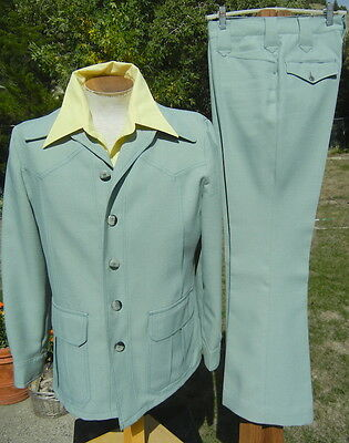 Vintage 1970s H BAR C Western Leisure Suit M 42 32x31 - Flared Cowboy MINT GREEN