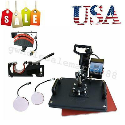 High Power 5In1 Heat Press Machine Digital Transfer Sublimation Shirt Mug Plate