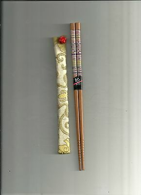 Japanese  Wood With Scenery   Chopsticks With  Free Silk Sleeve