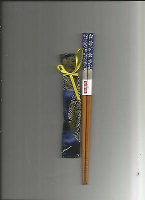 Japanese Wood W/ Navy And Silver Flowers  Chopsticks / W/free Silk Holder